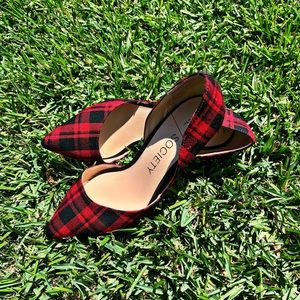 SOLE SOCIETY Heels, Red Plaid, Pointy Toe Pumps
